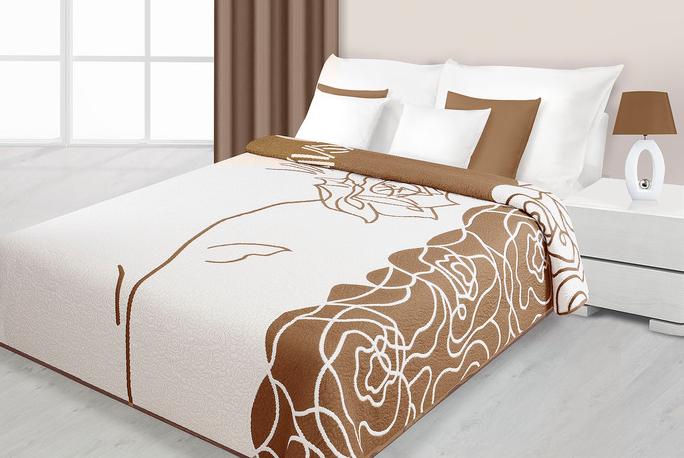 83002767208ba Obojstranný luxusný prehoz bavlnený krémovo- svetlohnedý vzor RUŽE 220x240  cm